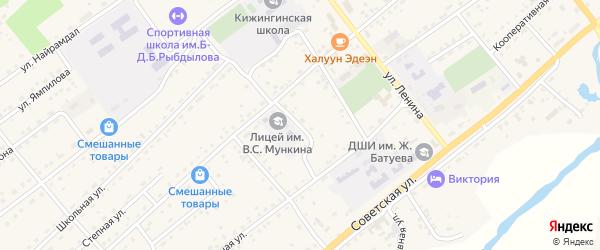 Переулок Космонавтов на карте села Кижинги с номерами домов