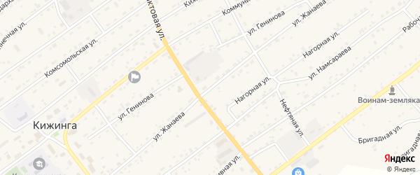 Улица Жанаева на карте села Кижинги с номерами домов