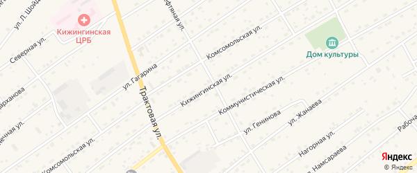 Кижингинская улица на карте села Кижинги с номерами домов