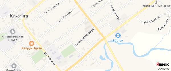 Кооперативная улица на карте села Кижинги с номерами домов