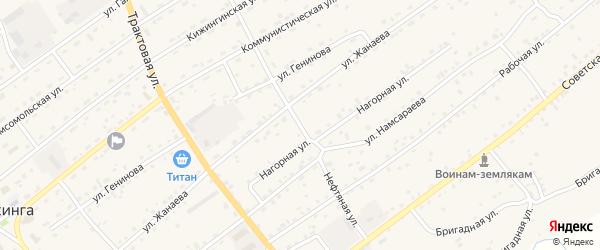 Нефтяная улица на карте села Кижинги с номерами домов