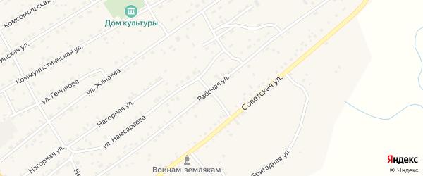 Рабочая улица на карте села Кижинги с номерами домов