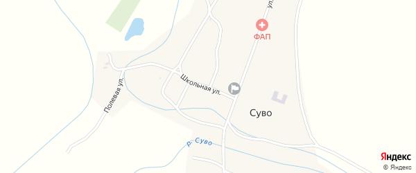 Школьная улица на карте села Суво с номерами домов