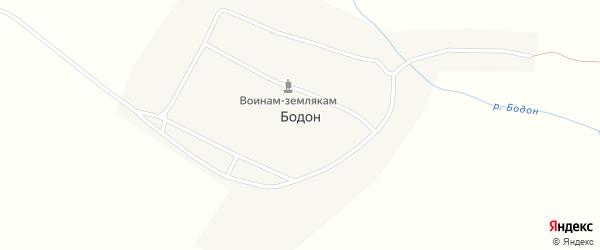 Заречная улица на карте села Бодона с номерами домов