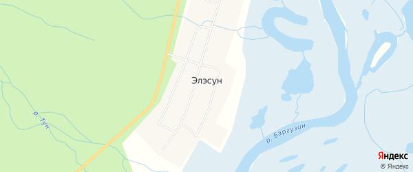 Местность Хуса-1 заимка на карте улуса Элэсун с номерами домов