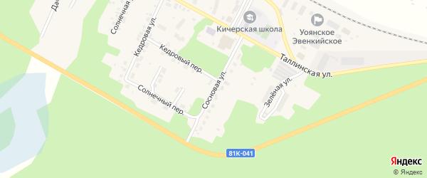Сосновая улица на карте поселка Кичера с номерами домов