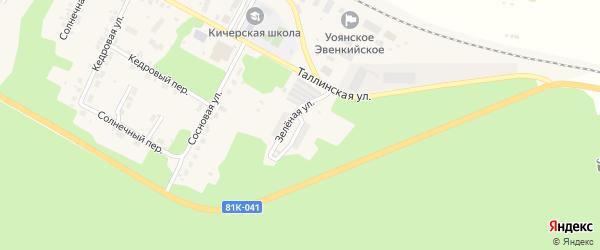 Зеленая улица на карте поселка Кичера с номерами домов