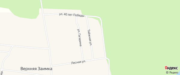 Таежная улица на карте села Верхней Заимки с номерами домов
