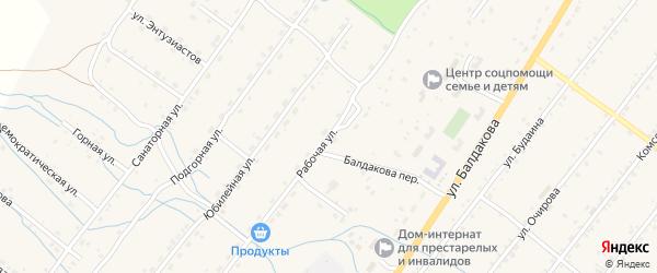 Рабочая улица на карте села Курумкана с номерами домов