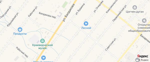 Зеленая улица на карте села Курумкана с номерами домов