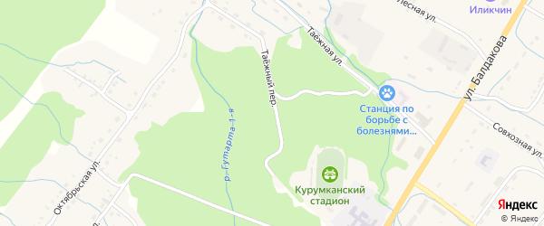 Таежный переулок на карте села Курумкана с номерами домов