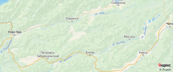 Карта Кижингинского района республики Бурятия с городами и населенными пунктами