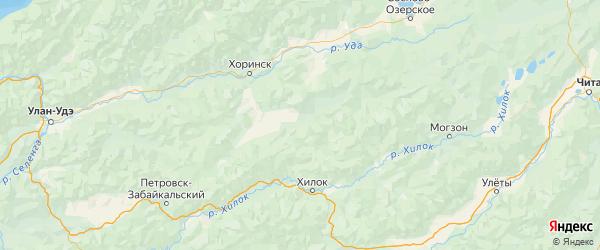 Карта Кижингинского района республики Бурятия с населенными пунктами и городами