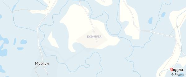 Местность Ехэ-Нуга заимка на карте улуса Мургун с номерами домов