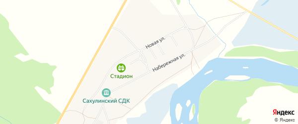Карта села Сахули в Бурятии с улицами и номерами домов