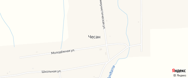 Молодежная улица на карте улуса Чесан с номерами домов