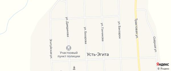 Улица Базарова на карте улуса Усть-Эгита с номерами домов