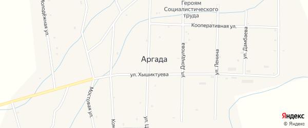 Комсомольская улица на карте улуса Аргада с номерами домов