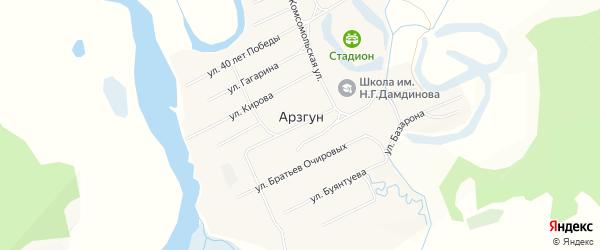 Карта улуса Арзгун в Бурятии с улицами и номерами домов