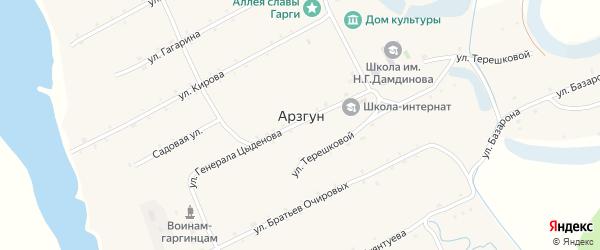 Улица Генерала Цыденова на карте улуса Арзгун с номерами домов