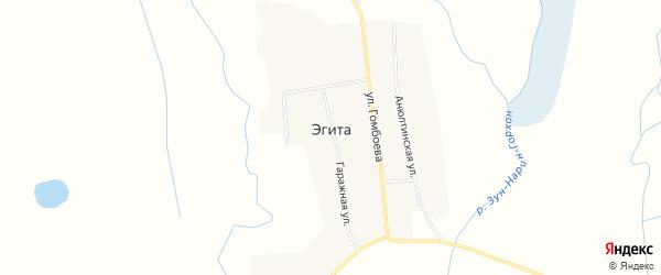 Карта села Эгита в Бурятии с улицами и номерами домов