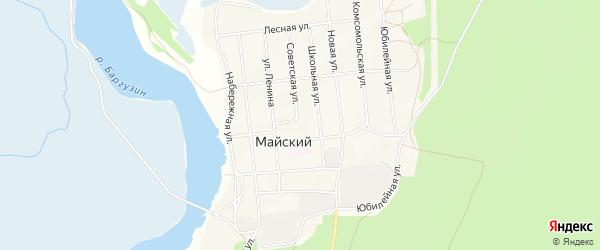 Карта Майского поселка в Бурятии с улицами и номерами домов