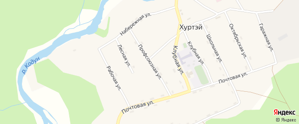 Профсоюзная улица на карте поселка Хуртэй с номерами домов