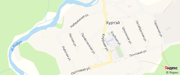Молодежная улица на карте поселка Хуртэй с номерами домов