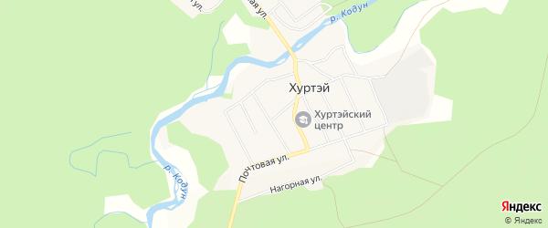 Карта поселка Хуртэй в Бурятии с улицами и номерами домов