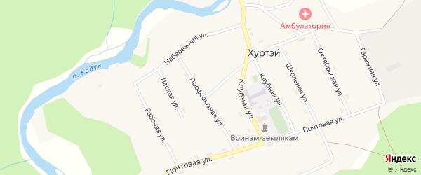 Рабочая улица на карте поселка Хуртэй с номерами домов