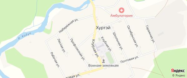 Клубная улица на карте поселка Хуртэй с номерами домов