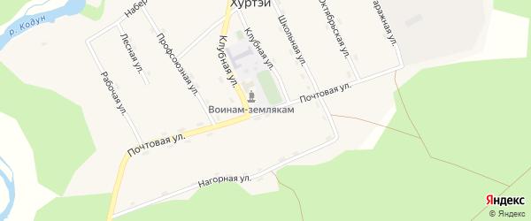 Нагорная улица на карте поселка Хуртэй с номерами домов