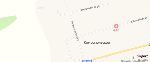 Геологическая улица на карте Комсомольского села с номерами домов