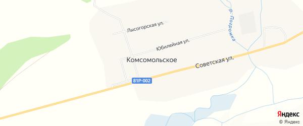 Местность Гавриловка на карте Комсомольского села с номерами домов