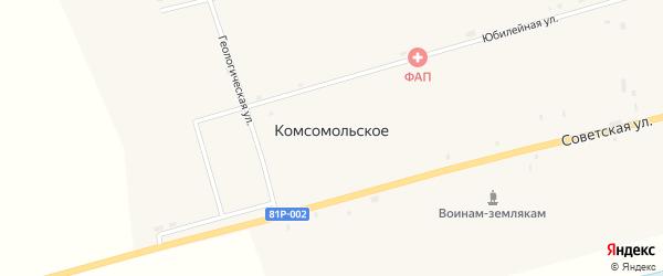 Восточная улица на карте Комсомольского села с номерами домов