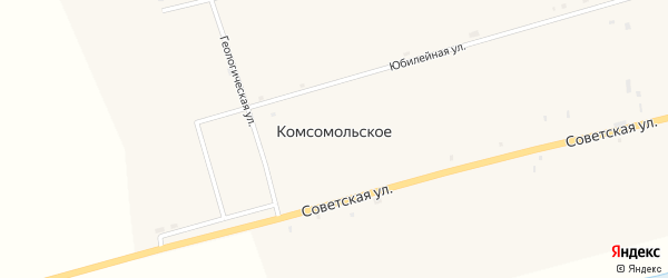 Юбилейная улица на карте Комсомольского села с номерами домов