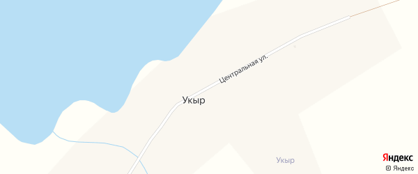 Центральная улица на карте села Укыра с номерами домов