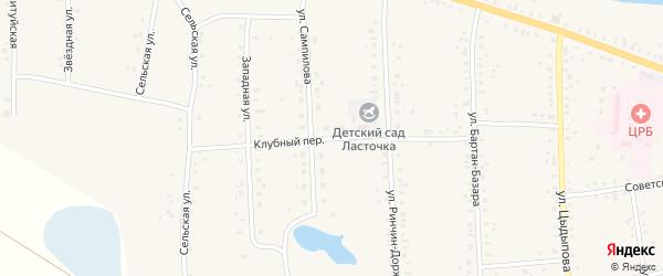 Клубный переулок на карте Сосново-озерского села с номерами домов
