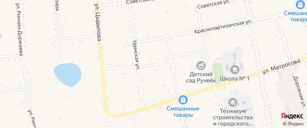 Стадионный переулок на карте Сосново-озерского села с номерами домов