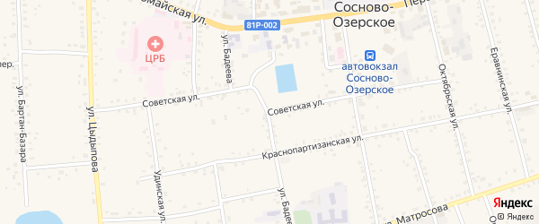 Советская улица на карте Сосново-озерского села с номерами домов