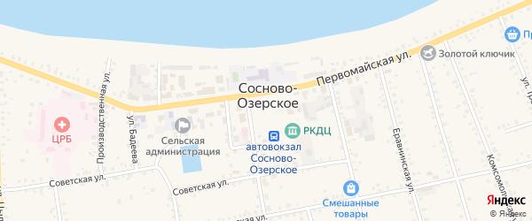 Песчаная улица на карте Сосново-озерского села с номерами домов