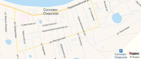 Микрорайон Хара-Торм на карте Сосново-озерского села с номерами домов