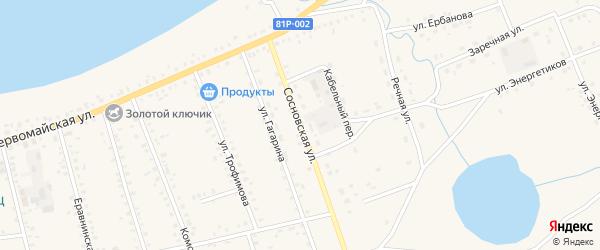 Сосновская улица на карте Сосново-озерского села с номерами домов