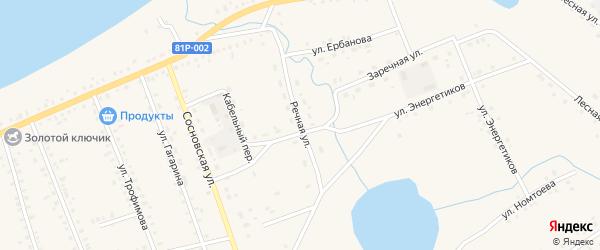 Речная улица на карте Сосново-озерского села с номерами домов