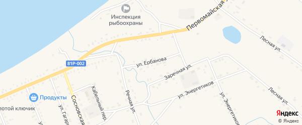 Улица Ербанова на карте Сосново-озерского села с номерами домов
