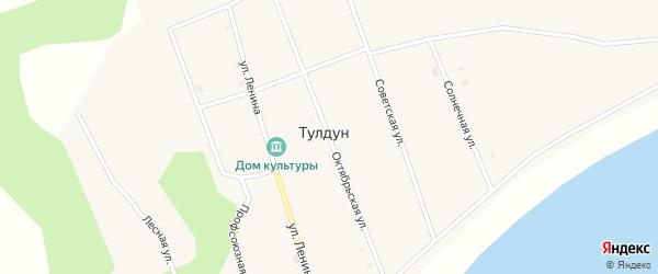 Октябрьская улица на карте поселка Тулдуна с номерами домов