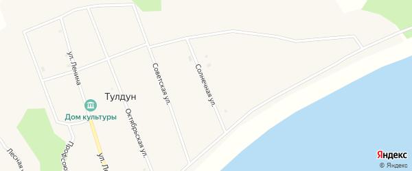 Солнечная улица на карте поселка Тулдуна с номерами домов