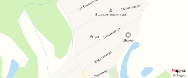 Солнечная улица на карте поселка Уояна с номерами домов