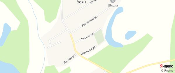 Лесная улица на карте поселка Уояна с номерами домов