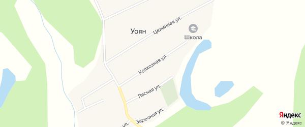 Колхозная улица на карте поселка Уояна с номерами домов